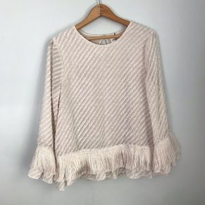 Max studio specialty fringe long sleeve blouse M